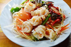 Papaya salad and pickled crab in Thai called Som tum. On dish Royalty Free Stock Photos