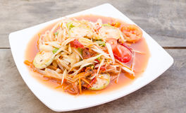 Papaya salad with pickled shellfish Royalty Free Stock Photos