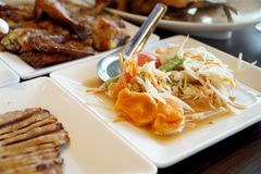 Papaya Salad. The Picture of papaya salad in thai style Stock Photos