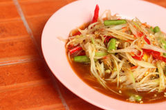 Papaya salad on a plate. Thai food Royalty Free Stock Image