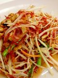 Papaya salad put dried shrimp. Stock Images