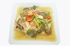 Papaya salad with raw crab, Thai spicy food Royalty Free Stock Images