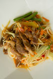 Papaya salad roasted pork. Closeup Stock Photo
