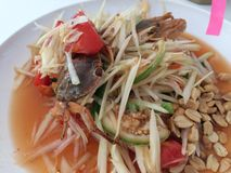 Papaya salad with Salted crab Stock Images