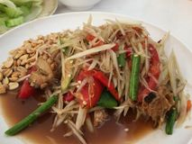 Papaya salad with Salted crab Stock Image