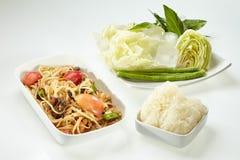 Papaya salad with  salted crab, Som Tam Thai Royalty Free Stock Photo