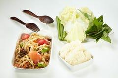 Papaya salad with  salted crab, Som Tam Thai Stock Image