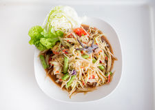 Papaya Salad with Salted Crab Stock Photos