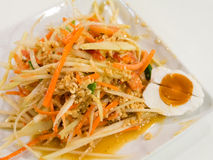 Papaya Salad with Salted Egg. Thai food stock photos