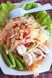 Papaya salad sea food, Thai food. Papaya salad sea food, popular of thai food Stock Photography