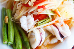 Papaya salad sea food, Thai food. Papaya salad sea food, popular of thai food Stock Photos
