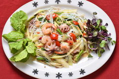 Papaya salad. With shrimp and octopus Royalty Free Stock Photo