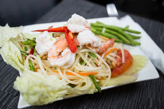 Papaya Salad with Shrimp. Som Tam Goong (Papaya Salad with Shrimp Stock Photo
