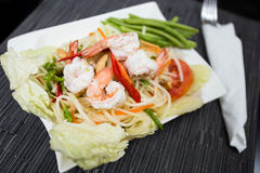 Papaya Salad with Shrimp. Som Tam Goong (Papaya Salad with Shrimp Stock Images