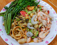 Papaya salad With shrimps. A spicy papaya salad With shrimps and Vegetable thai food stock photo