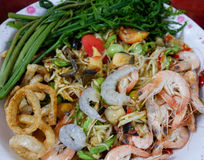 Papaya salad With shrimps. A spicy papaya salad With shrimps and Vegetable thai food stock image