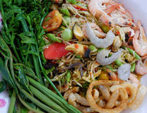 Papaya salad With shrimps. A spicy papaya salad With shrimps and Vegetable thai food stock images
