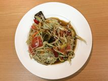 Papaya salad with Slatternly. Or Som tum Pla ra from Thailand Royalty Free Stock Photography