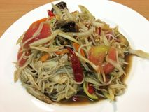 Papaya salad with Slatternly. Or Som tum Pla ra from Thailand Royalty Free Stock Images