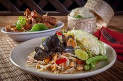 PAPAya Salad. Som tam and chicken grilled rice. Thai food Royalty Free Stock Photos