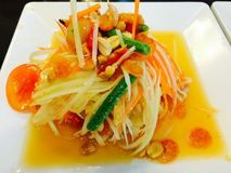 Papaya salad. Som tam or papaya salad the most famously thai food Royalty Free Stock Images