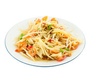 Papaya salad (Som Tam) Thai cuisine spicy delicious. On white stock photography
