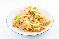 Papaya salad (Som Tam) Thai cuisine spicy delicious. On white Royalty Free Stock Images