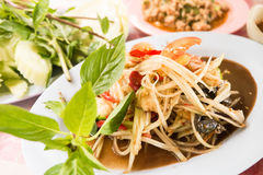 Papaya salad or Som Tam. Thai delicious green papaya salad taste hot and spicy Royalty Free Stock Photo