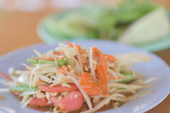 Papaya salad or Som Tam. Thai food Stock Image