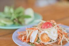 Papaya salad or Som Tam. Thai food Stock Photos
