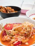 Papaya salad or som-tam ,Thai local food. Cooking in Thai Style. Thai Cuisine royalty free stock image