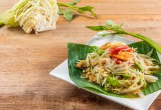 Papaya salad Som Tam traditional thai food. Close-up papaya salad Som Tam on wooden table,traditional thai food stock photos