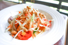 Papaya salad or Som Tan in Thai food. Papaya salad ,spicy salad or Som Tan in Thai food Stock Images