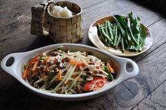 Papaya Salad (som tum). Is thai favorite food Stock Image