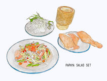 Papaya salad or som-tum with grilled chicken and sticky rice .ha Royalty Free Stock Images