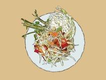Papaya salad or som-tum , hand drawn sketch vector. Stock Image