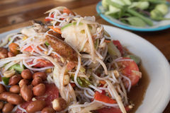 Papaya salad or Som tum. Noodle salad ,papaya salad or Som tum is local food Northeast of Thailand royalty free stock images