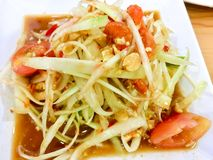 Papaya salad or Som Tum spicy Thai food.  stock images