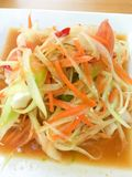 Papaya salad or Som Tum spicy Thai food.  stock photo