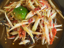 Papaya Salad Som tum Thai close up. Close up Papaya Salad Som tum Thai on wood table royalty free stock photos