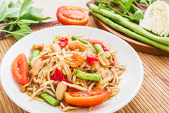 Papaya salad (Som Tum),Thai food Stock Photos