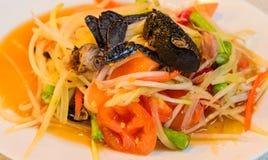 Papaya salad (Som tum). Thai food, Papaya salad (Som tum) with salted crab Stock Photography