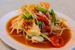 Papaya salad (Som tum). Thai food, Papaya salad (Som tum) with salted eggs royalty free stock images