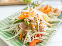 Papaya salad or Som tum, Thai food on table.  stock image