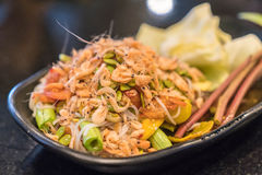 Papaya salad, som tum. Thai foods stock photos