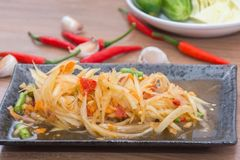 Papaya salad som tum thai. On plate stock images