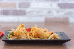 Papaya salad som tum thai. On plate stock image