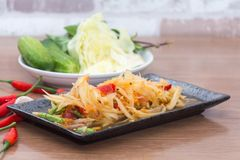 Papaya salad som tum thai. On plate royalty free stock photos