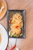 Papaya salad (som tum thai) on platemeal, meat, food, gourmet, s. Papaya salad (som tum thai) on plate royalty free stock images