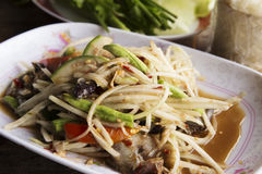 Papaya salad or Som tum. With Thai style Ferment fish Stock Photo